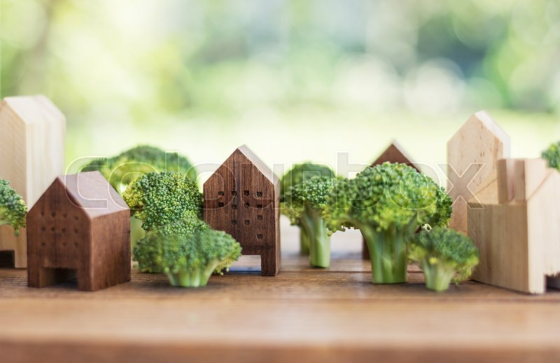 Green town of broccoli tree, town of vegetable concept, stock photo