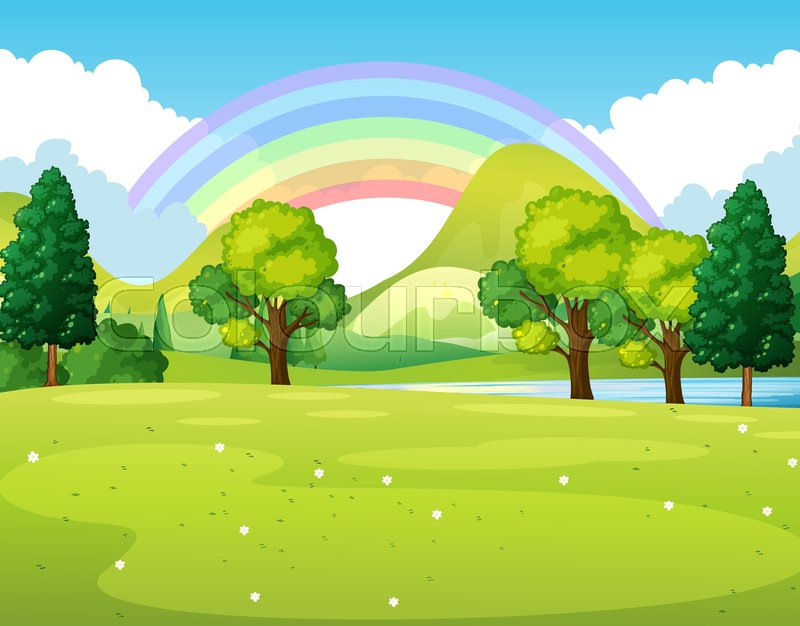 Scene of the garden with rainbow and trees vector illustration, vector