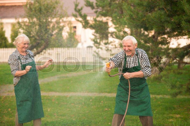 Elderly Couple Having Fun Cheerful Stock Image Colourbox
