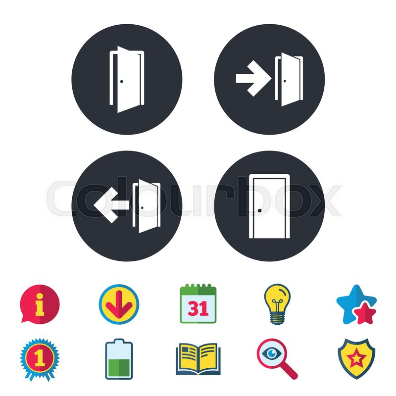 Doors Icons Emergency Exit With Arrow Symbols Fire Exit Signs
