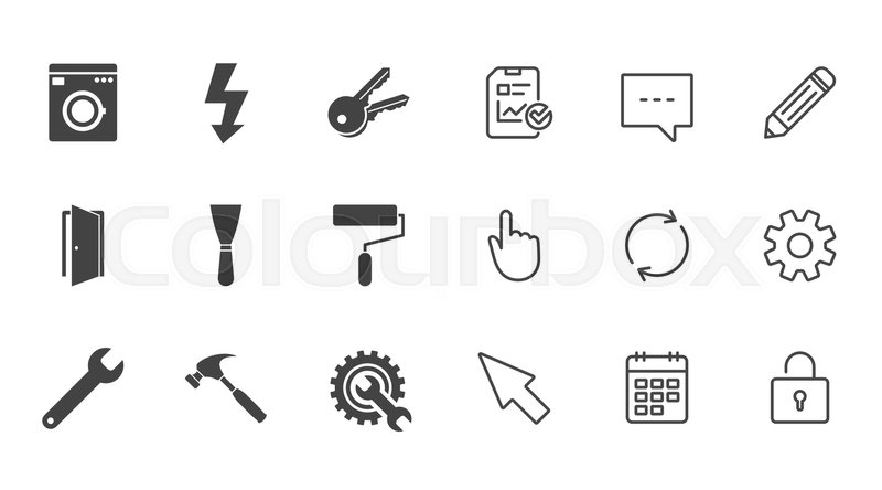 Repair, construction icons. Electricity, keys and hammer signs. Door ...