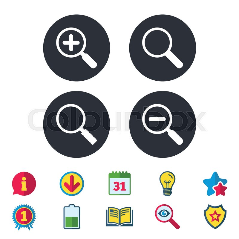 Magnifier Glass Icons Plus And Minus Zoom Tool Symbols Search