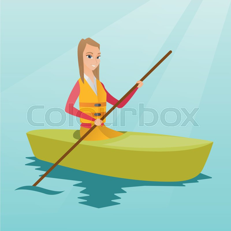 Young caucasian traveler woman traveling by kayak. Sportswoman riding a kayak on river. Traveling woman paddling a canoe. Sport and tourism concept. Vector flat design illustration. Square layout, vector