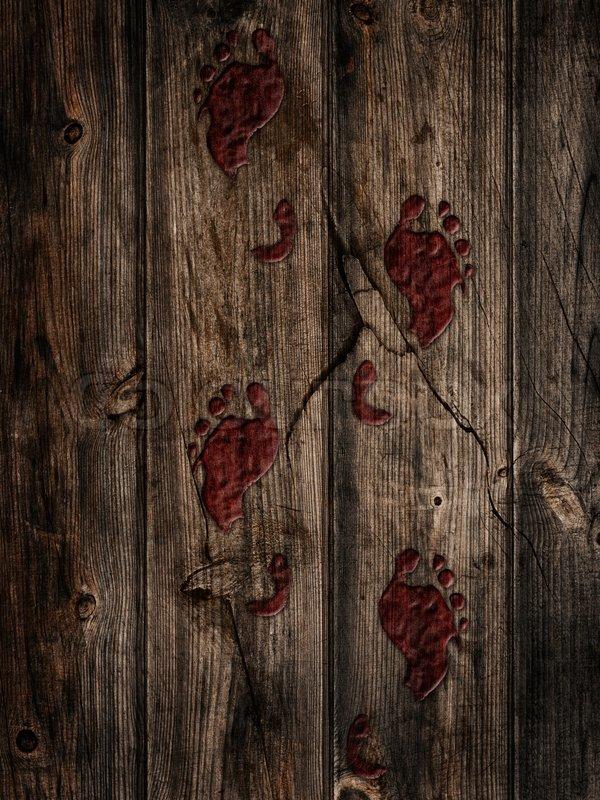 korkealaatuinen los angeles paras arvo Bloody footprints on a wooden floor | Stock image | Colourbox