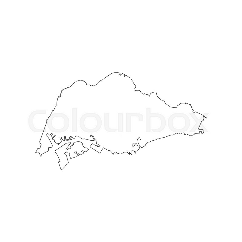 Singapore Map On The White Background Vector Illustration Stock - Singapore map vector