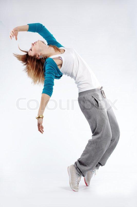 teenage girl dancing hip hop studio series stock photo colourbox
