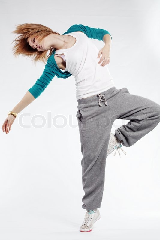 Teenage girl dancing hip-hop studio series | Stock Photo ...