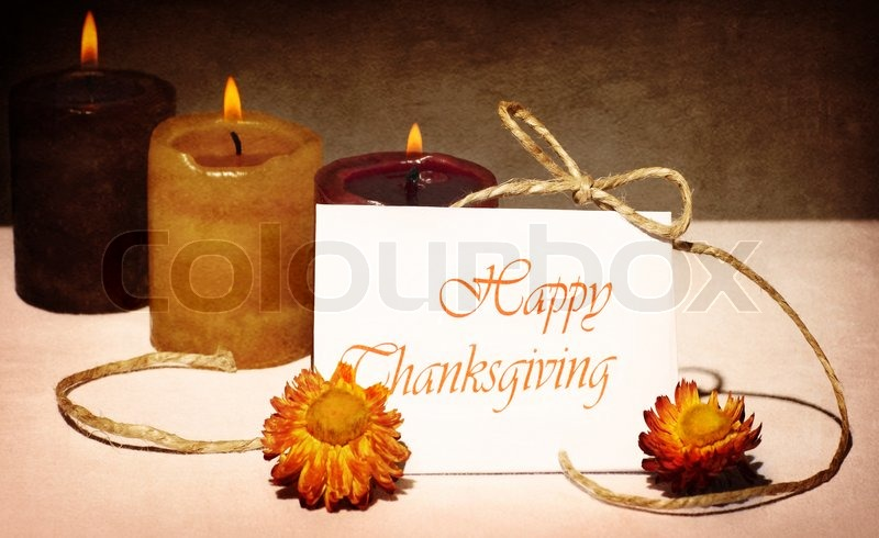Thanksgiving holiday greeting card still life decoration with thanksgiving holiday greeting card still life decoration with candles over dark grunge background stock photo colourbox m4hsunfo