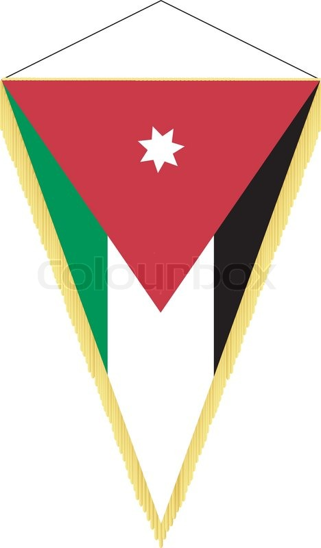 vector image of a pennant with the national flag of jordan stock