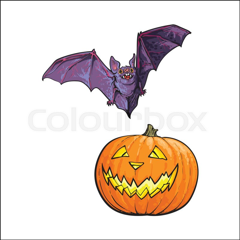 Hand Drawn Halloween Symbols Pumpkin Jack O Lantern And Flying