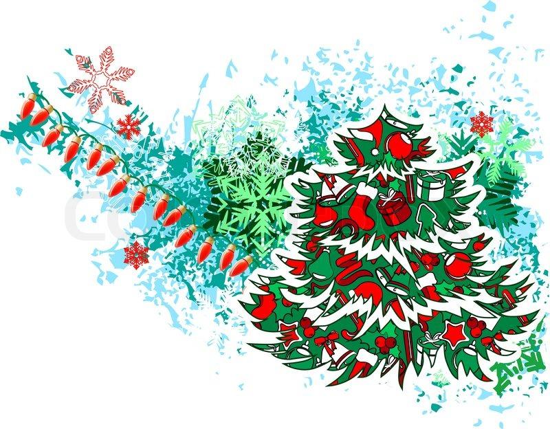 modern christmas tree with garland and snowflakes stock vector colourbox - Christmas Tree With Garland