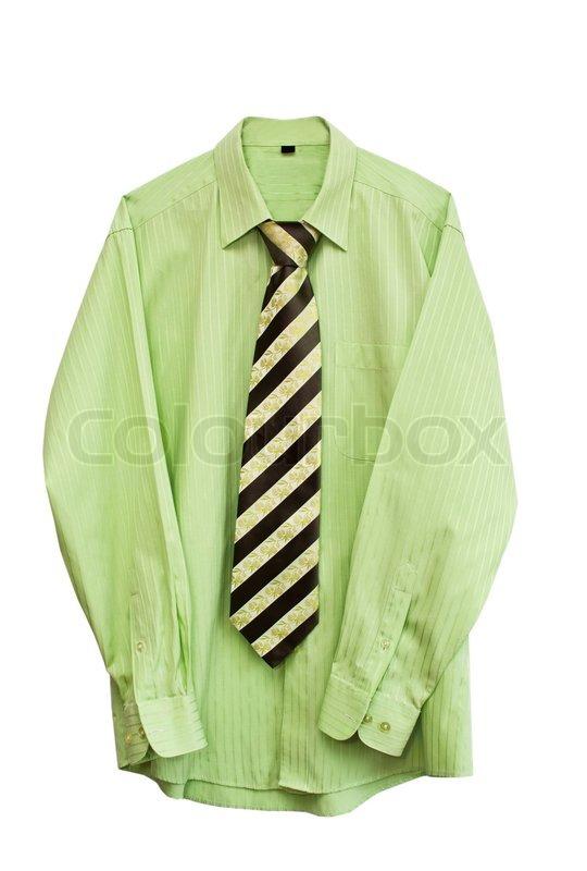 gr nes hemd mit einer krawatte auf wei em hintergrund stock foto colourbox. Black Bedroom Furniture Sets. Home Design Ideas