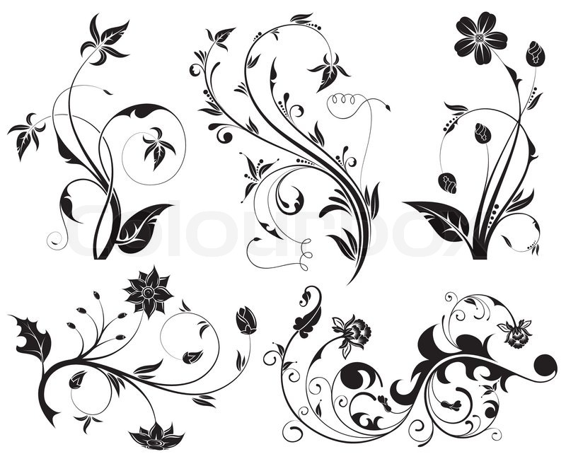 Big collection beautiful flowers element for design - Muster malen ...