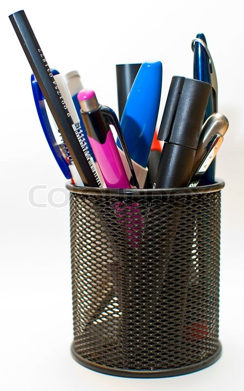 colored pen and pencil in office pot isolated on white background stock photo colourbox. Black Bedroom Furniture Sets. Home Design Ideas