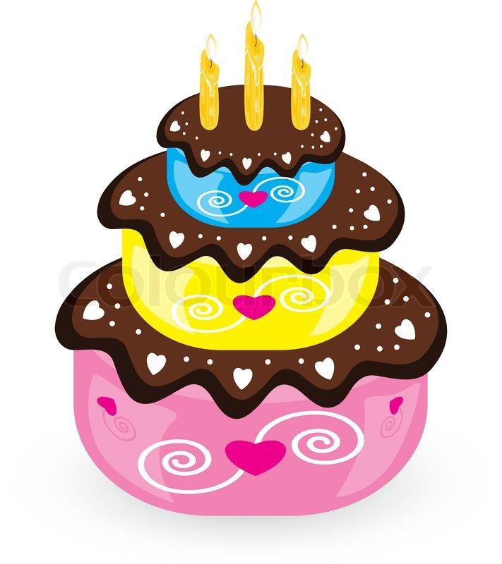 Geburtstag kuchen und kerze illustration auf wei em for Kuchen 18 geburtstag