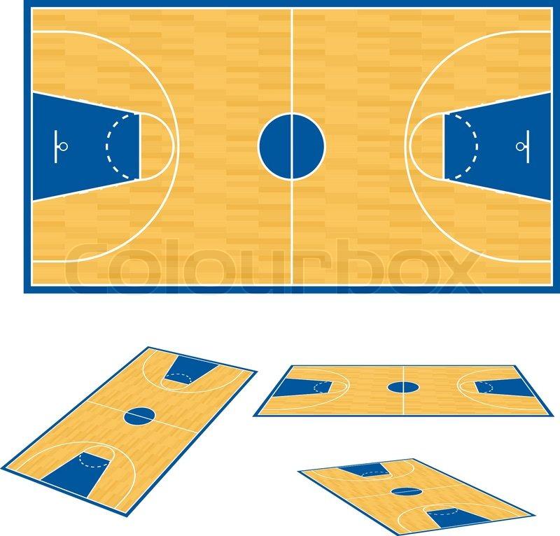 Basketball court floor plan illustration on white for Basketball floor layout