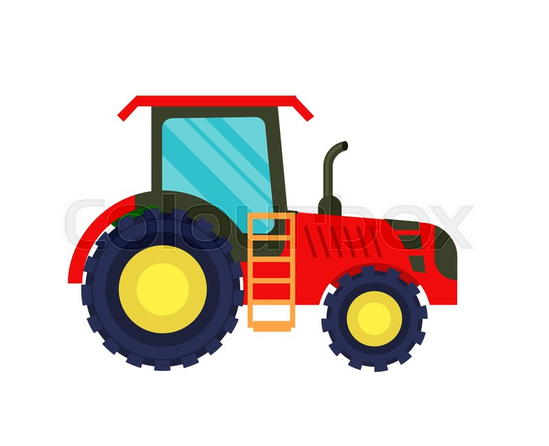 Agricultural Machinery Design : Modern agriculture tractor icon rural industrial farm