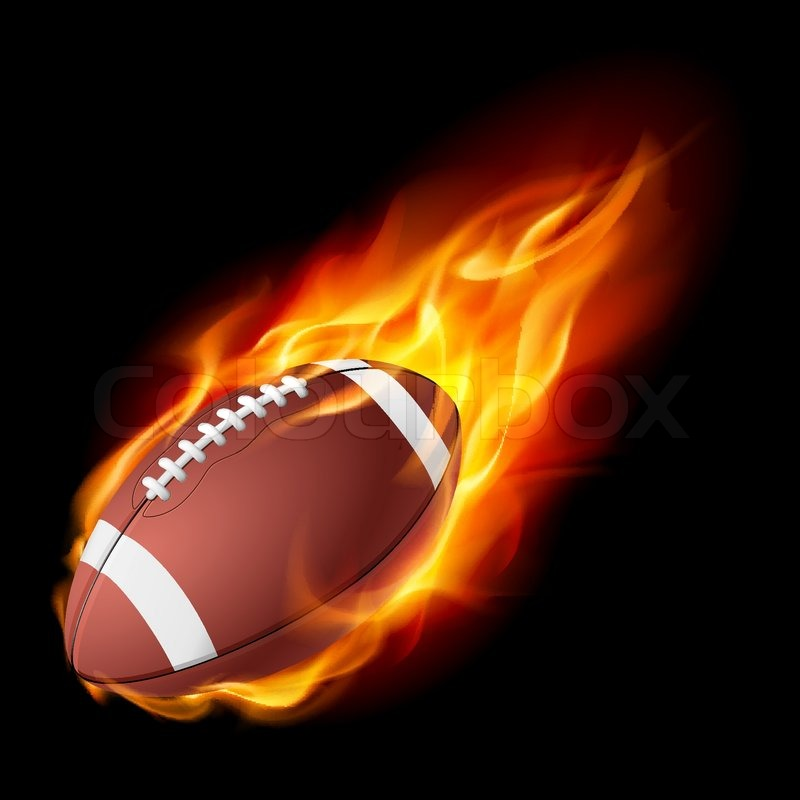 Stock vector of 'Realistic American football in the fire Illustration ...