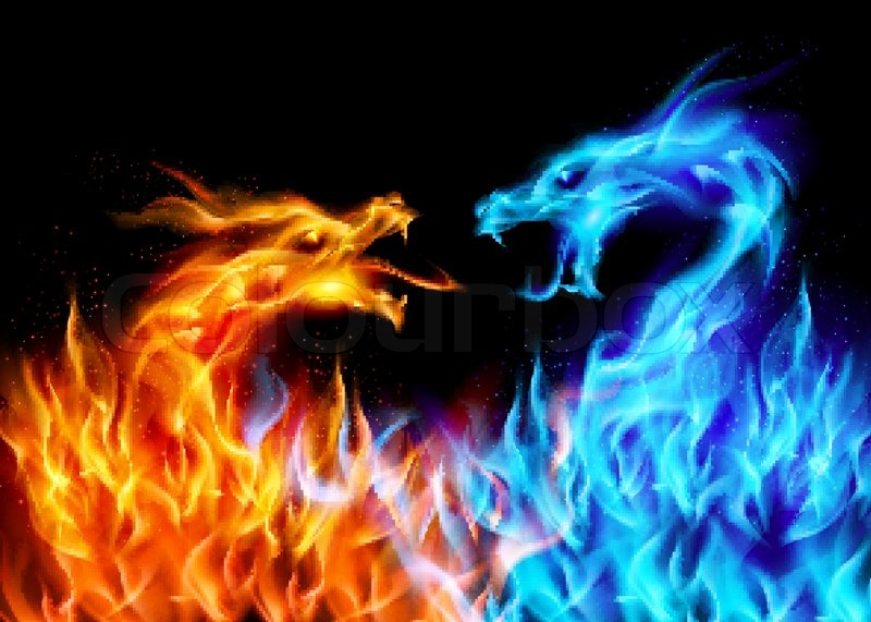 Fiery Treble Clef In Rainbow Flames: Zusammenfassung Blauen Und Roten Feurigen Drachen