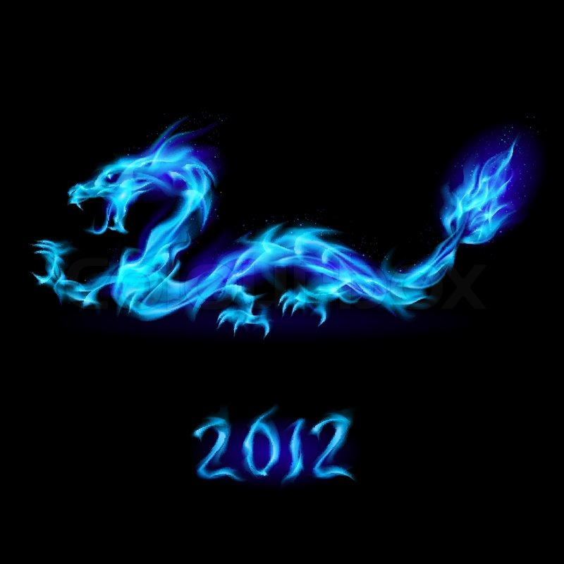 Abstract Blue Fiery Dragon Illustration On Black Background For Design Stock Vector Colourbox