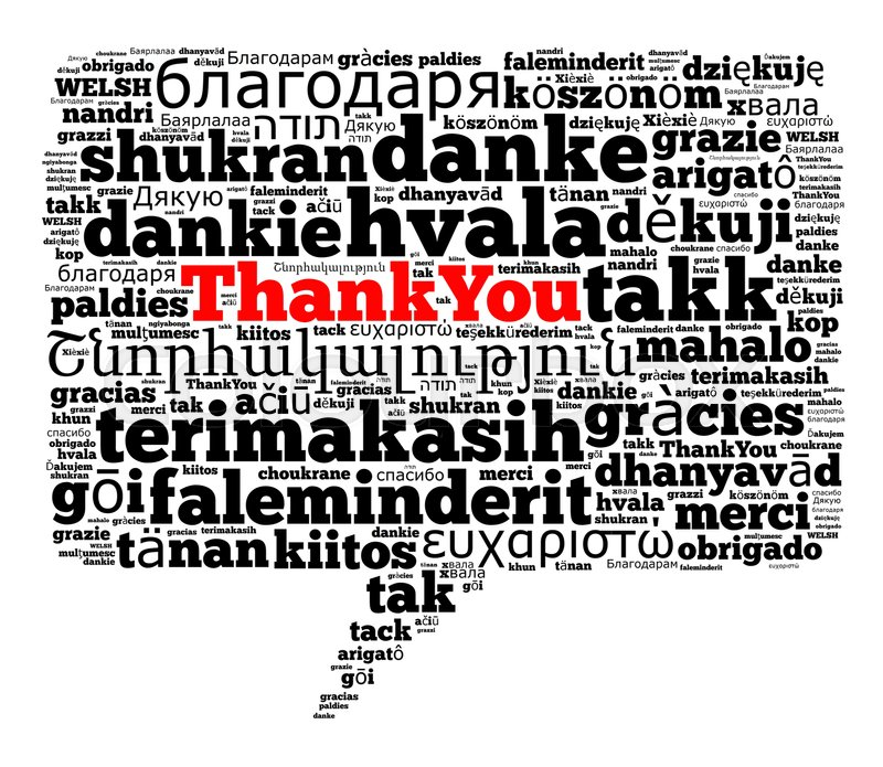 Stock image of 'Thank you in different languages word cloud concept'