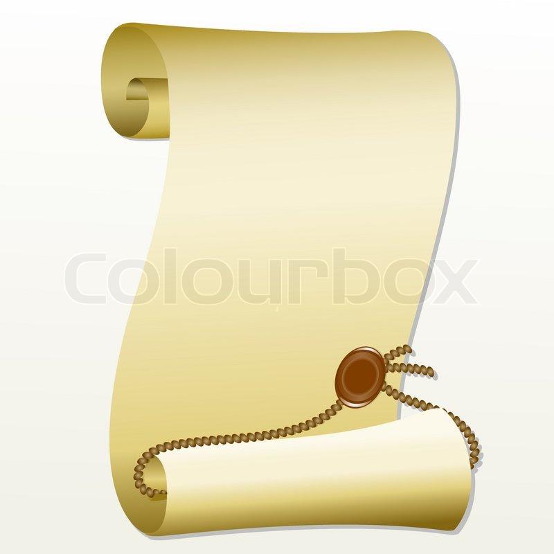 papierrolle mit einem stempel auf einem wei en hintergrund vektorgrafik colourbox. Black Bedroom Furniture Sets. Home Design Ideas