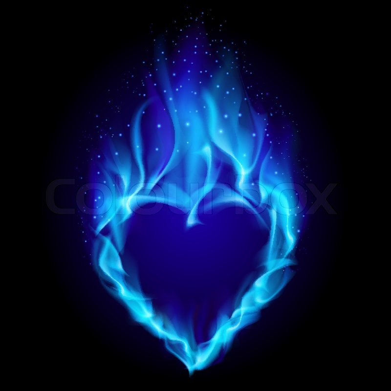 Heart in blue fire. Illustration on ...   Stock vector ...