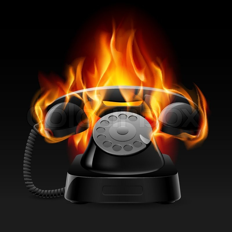Realistic Fire Retro Phone Illustration Of The Designer On