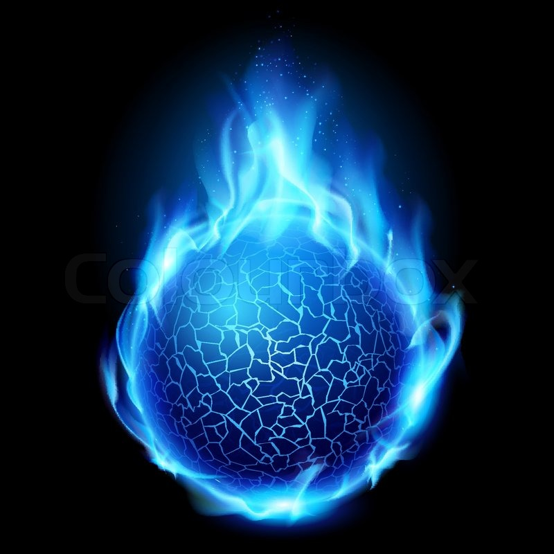 blue fire ball  illustration on black