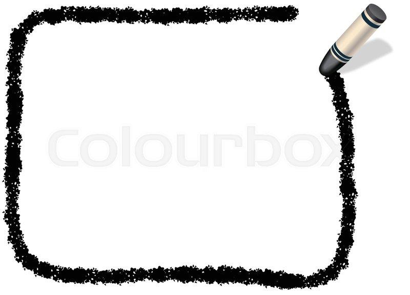 A black, rectangular message frame drew with a black crayon. | Stock ...