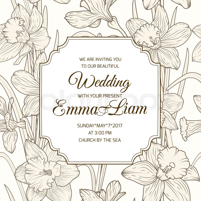 wedding marriage event invitation rsvp template daffodil narcissus