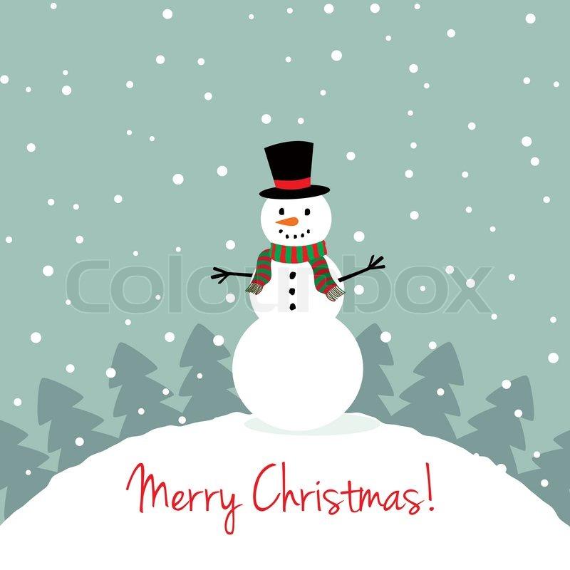 xmas card with a cute snowman stock vector colourbox