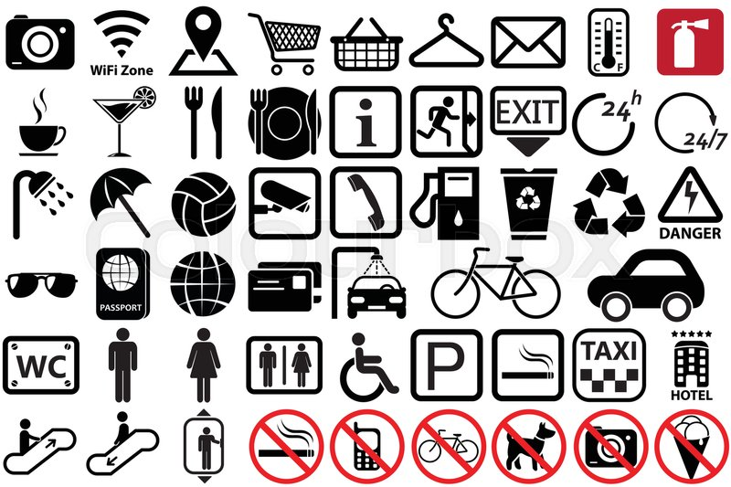 icon symbols signs service icons communication shopping social toilet vector street place illustration preview colourbox