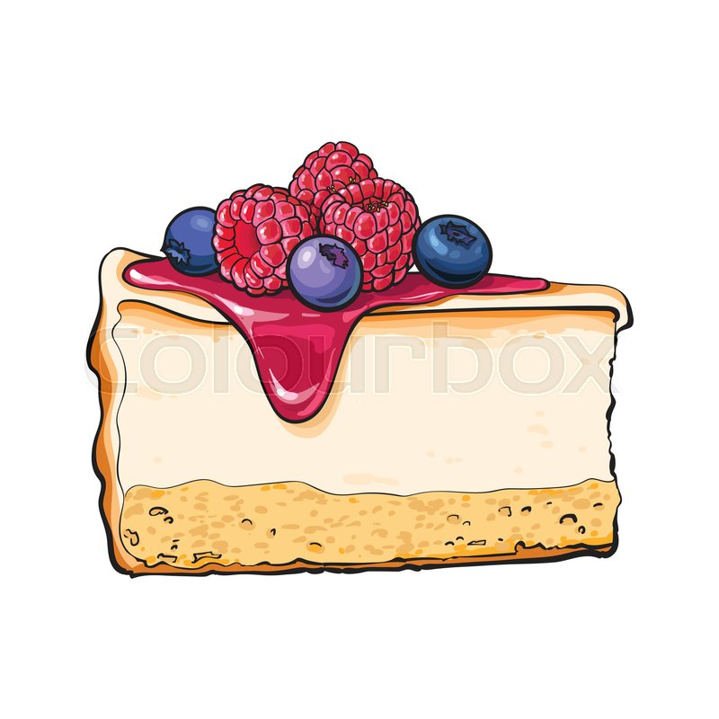 Realistic Hand Drawing Of Piece Slice Cheesecake Cheese Cake