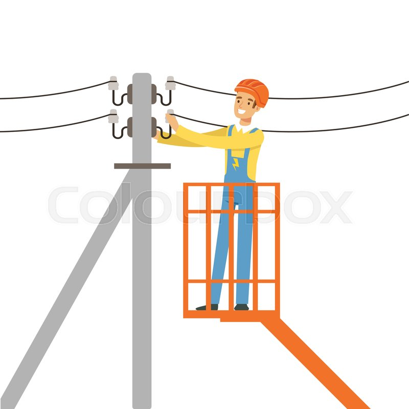 Electrician repairing wire of the power line with bucket hydraulic ...