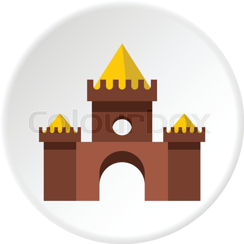 Brown castle icon in flat circle isolated vector illustration for web, vector