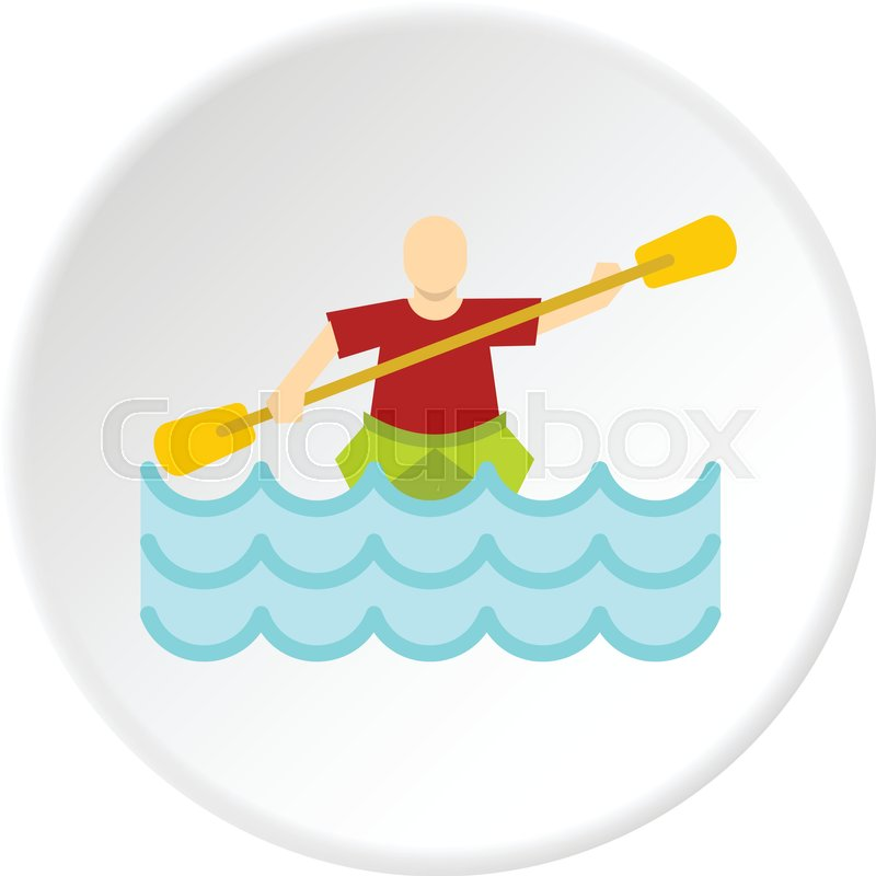 Kayaking water sport, icon in flat circle isolated vector illustration for web, vector
