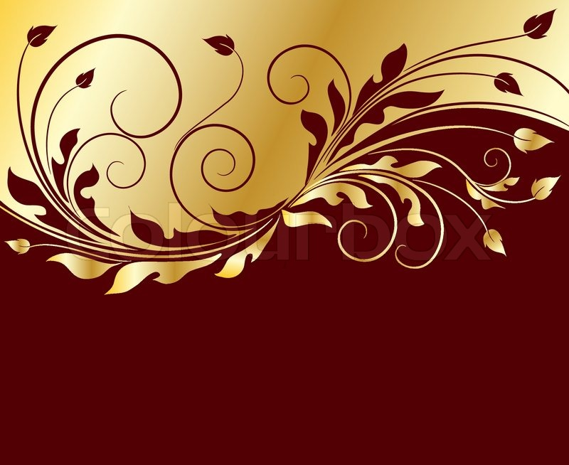 Golden Floral Background Stock Vector Colourbox