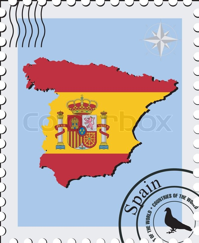Vector Stamp With The Image Maps Of Spain