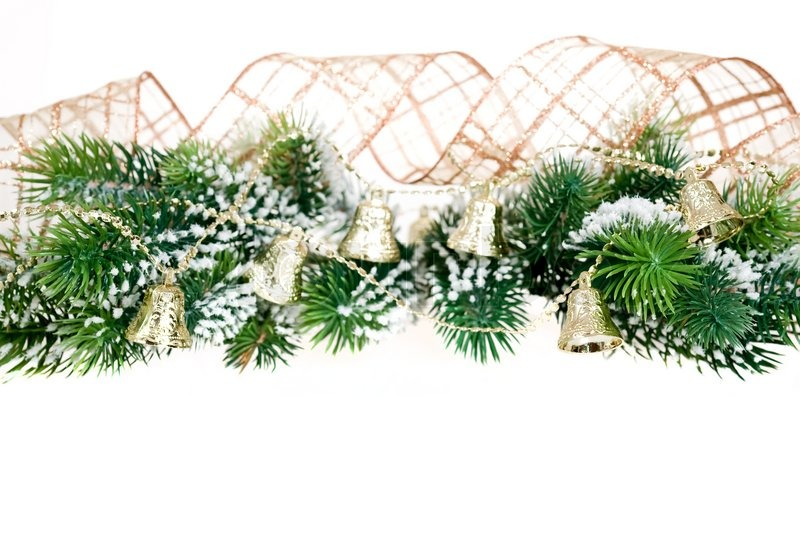 border from christmas tree branch and decorations on white background stock photo colourbox