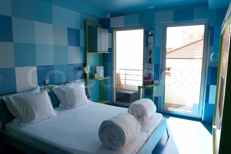 Modern Hotel Room In Blue Colours Stock Photo Colourbox