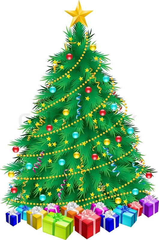 Christmas Tree And Gifts Illustration Stock Vector Colourbox