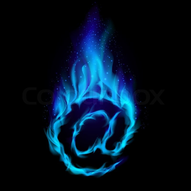 abstract symbol of at blue flame simulated on black background