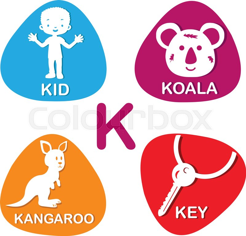 Cute alphabet in vector k letter for kid koala kangaroo and key cute alphabet in vector k letter for kid koala kangaroo and key alphabet design in a colorful style vector thecheapjerseys Gallery