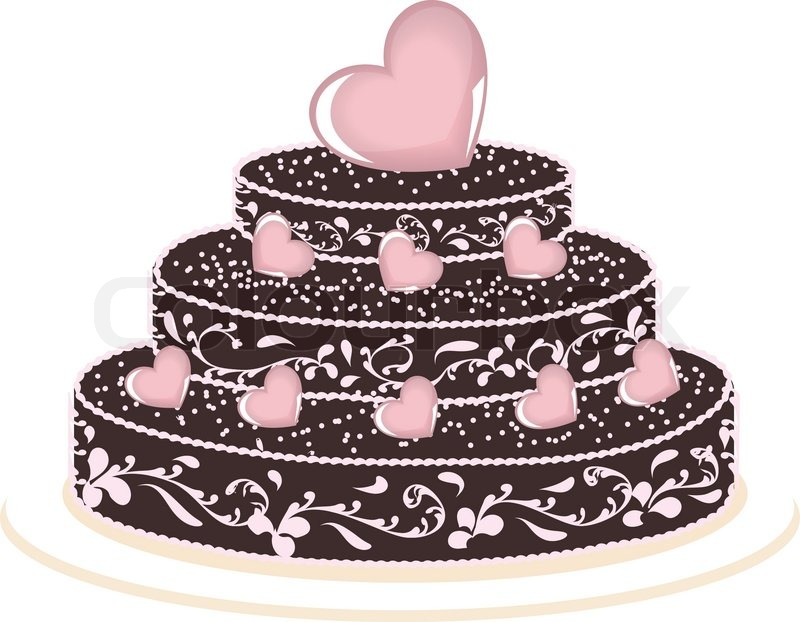 Images Of Big Chocolate Cake : Big chocolate cake with hearts on white background Stock ...