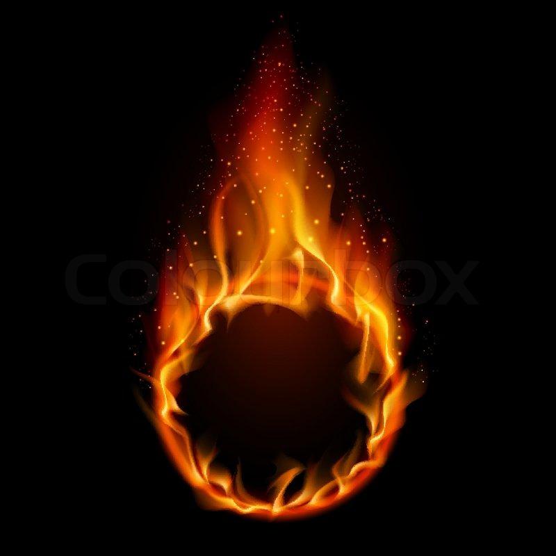ring of fire illustration on black background for design stock