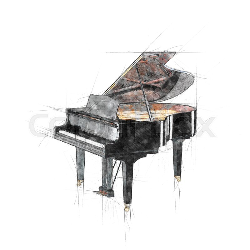 Pencil hand drawing of opened black grand piano | Stock Photo ...