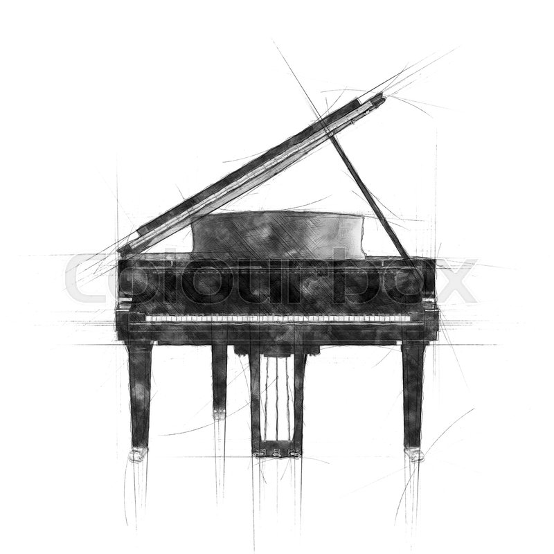 Pencil sketch of opened black grand piano front view | Stock Photo ...