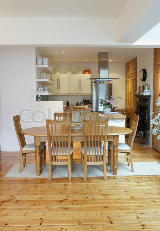 Empty kitchen and dining room with open floor plan, stock photo