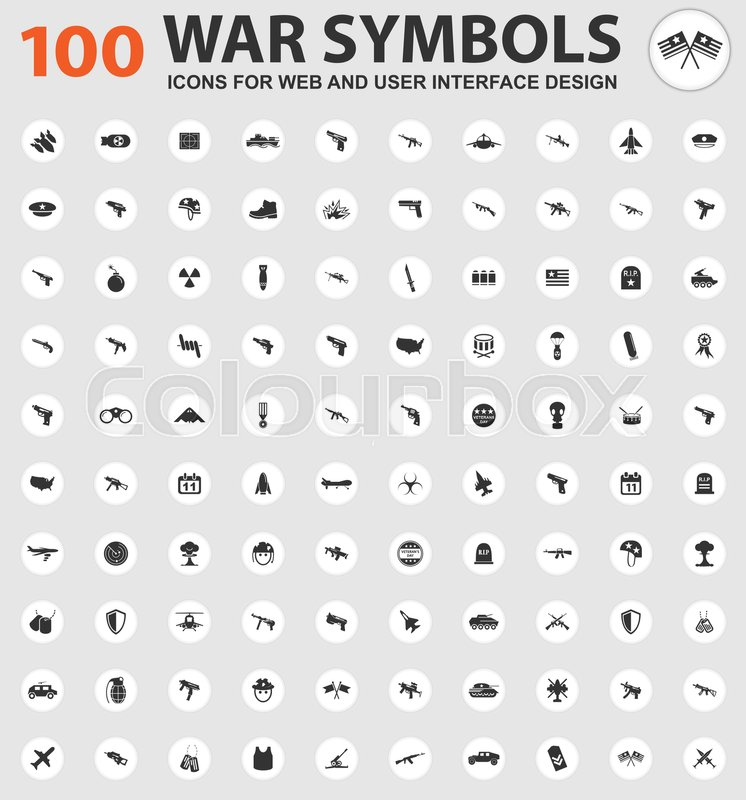 War Symbols Icons For Web And User Interface Design Stock Vector
